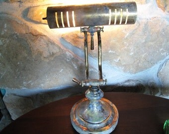 Brass Desk Lamp, Aged, Old Looking, Patina, Steampunk, Working, Light, Banker's Style, Bankers Lamp