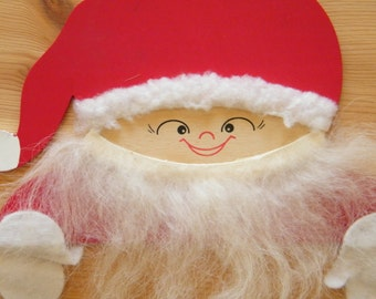 Cute Vintage Swedish Wall Hanging - Christmas Gnome Santa Elf - Hand Made on Plywood - Made in Sweden - Kids Room Decoration