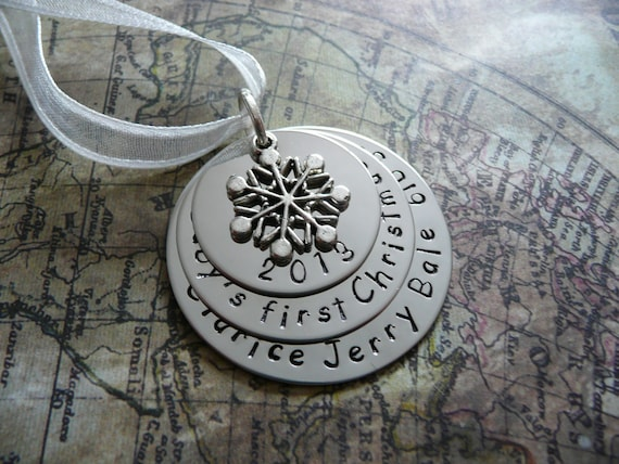 Custom hand stamped metal ornament baby s first