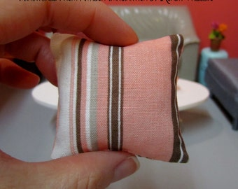 Miniature Barbie Blythe 1:6th Scale Square pillow in a Coral color with creamy white and brown stripe