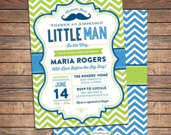 Little Man Baby Shower Invitation, Mustache Baby Shower Invitation, Little Man Baby Shower Invite, Printable Mustache Invitation Blue Green