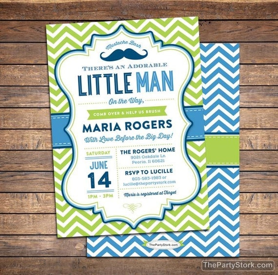 Little Man Baby Shower Invitation, Mustache Baby Shower Invitation