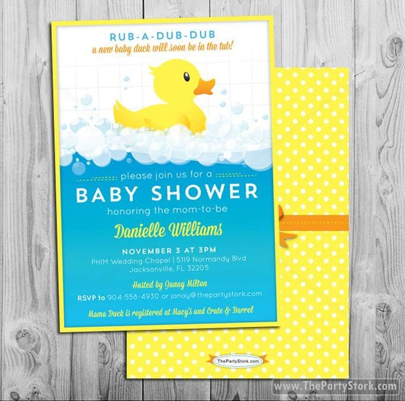 rubber duck baby shower invitation by the party stork catch my party