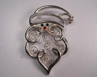 Christmas Santa Face Brooch or Pin, Silver Tone Cutout, Stocking Stuffer