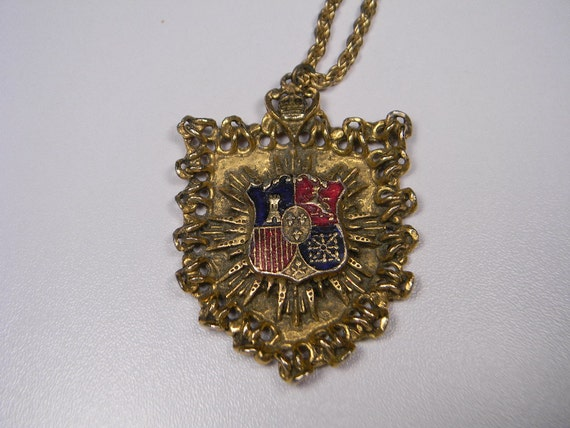 Ornate Shield With Crest, Vintage Necklace, Gold Tone