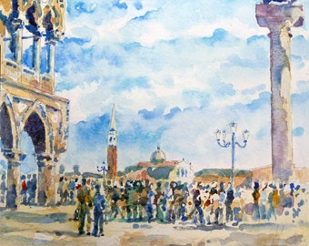 St Marks Square and Doges Palace  Venice by John Menage Watercolour print A3 size approx 11 1/2in x 16 1/2in