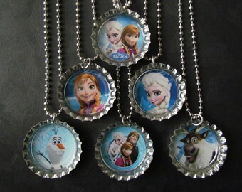 Frozen Bottle Cap Party favors (6) / add more for 2 dollars each / Your choice of images