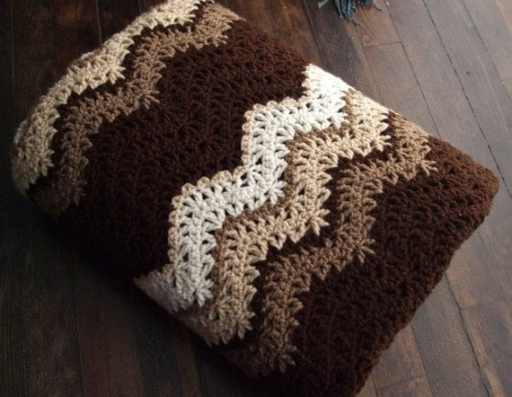 Ripple Afghan in Brown and Cream - Crochet Throw Blanket