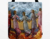 Balcony of Heaven Market Tote Bag, Angels, Unique Market Bag,Vintage,Library Bag, Heaven, Accessory, Bags and Purses, 16 x 16, 18 x 18g