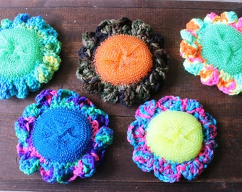 Set of THREE Flower Dish Scrubbies - Seller's Choice