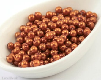 4mm Rust Brown Pearl Beads (50) Czech Small Glass Thin Pressed Round Druk Opaque Spacers