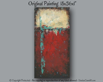 Abstract painting, Large wall art, Red & Teal home decor, Turquoise black, Canvas art, Office decor, Master bedroom artwork, Southwest decor