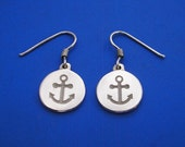 Silver Anchor Earrings , Hand Made Solid Silver