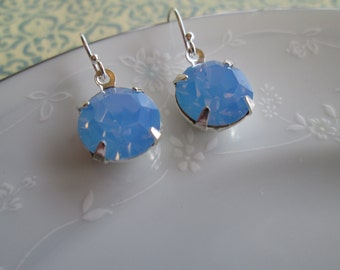 Vintage Swarovski 47SS Blue Opal Faceted Crystal Stone Earrings, Sterling Silver, Light Blue, Opal, Dangle Earrings
