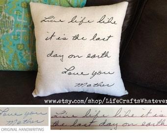 Handwritten signature pillow 16x16 with insert
