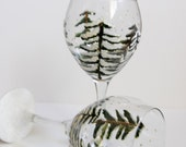 Hand Painted Wine Glasses - Winter Trees Wine Glasses Set of 2 - Holiday Glasses