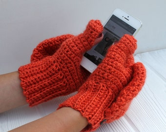 Wool Blend Convertible Mittens, Glittens, Gloves with Flap, Made to Order