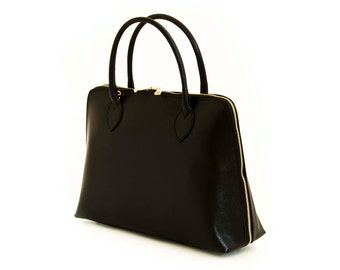 Handmade Tote Bag, Black Italian Leather Purse, Designer Leather Handbag, Leather Briefcase -.- the Haupu  -.-  winter sale 30% off
