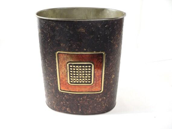 Items Similar To Metal Trash Bin Decorative Vintage Trash