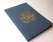 A5 Notebook, Felt Cover with Arabic Embroidery- Grey  with Golden -RESERVED-