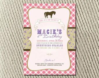 Shabby Chic Saddle Up Horse Party Invitation: Digital