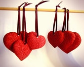 SALE - LAST ONE  Red Suede Valentine Hearts