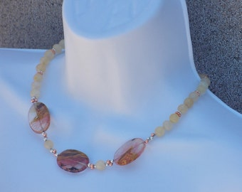 Necklace Yellow Moonstone Peach Fire Agate Pretty Earth Tone Jewelry Natural Colors Fashion Gift