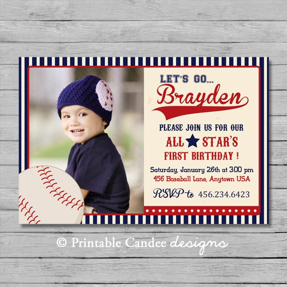Vintage Baseball Birthday Invitation - DIY Custom Printable
