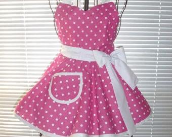 Little Girl's Retro Apron Full Circular Skirt Hot Pink White Polka Dots