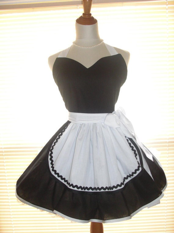 french maid apron pinup retro style black and white flirty