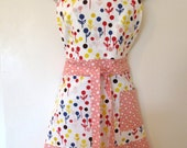 Flower Dot Print  Full Apron