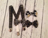 Baby  and Toddler Suspenders and Bow Tie--size 3-18 months, 2T, 3T, or 4T--Black and Metallic Gold Collection--herringbone--Gatsby Inspired