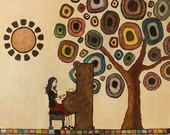 Art Print. Girl Playing Piano Tree Sun. Music is Life