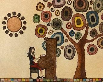 "Art print // Piano - woman - tree // ""Music is life"""
