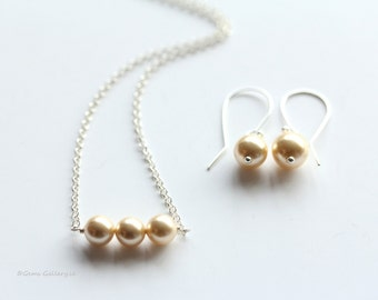 Cream Earrings and Necklace, Bridal Jewelery, Sterling Silver Wedding Jewelery, Vanilla Set