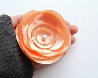 Peach Flower Satin Brooch, Peach Wedding Brooch, Mother of Bride Accessories