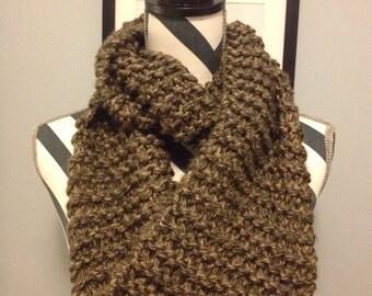 "Cute ""Mocha"" Chunky Eternity Hand Knit Scarf//brown//black//tan"
