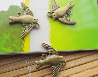 50pcs antique bronze swallow finding charm