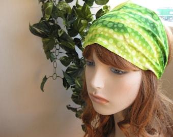 Green Waves Bandana Head Wrap Women's Gypsy Hippie Headband Hair Accessory by flowercitythreads