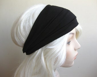 Basic Black Turban Head Wrap, Workout Headband, Women's Yoga Headband, Turband, Wide Head / Hair Band, Stretch Fabric,  Hair Accessories