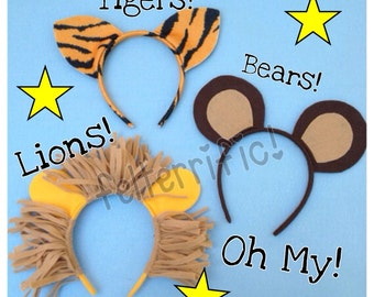 Handmade Animal Ear Headband Lion Tiger or Bear