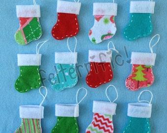 1 Dozen Handmade Felt Mini Stocking Ornaments