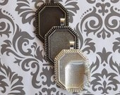 12 22x30mm Rectangle Octagonal Blank Pendant Trays with glass, Blank Tray Pendants, Cabochon Frame Settings