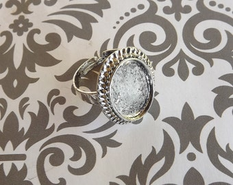 10 13x18mm Antique Silver Oval Adjustable Ring Bases
