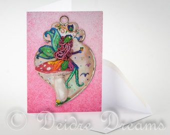 Fairy Card, Greeting Card, Greetings Card, Valentine Card, Toadstool Card, Fairy Decor, Halloween Card, Halloween Decor, Fairy Wall Art