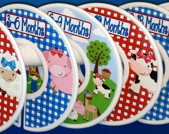 Custom Baby Closet Dividers Organizers Girly Farm Animals Barnyard Pig Sheep Horse Cow Chickens CD890 Baby Girl Nursery Shower Gift