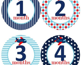 Baby Monthly Milestone Growth Stickers Navy Red Light Blue Airplane Planes MS510 Nursery Theme Baby Shower Gift Baby Photo Prop