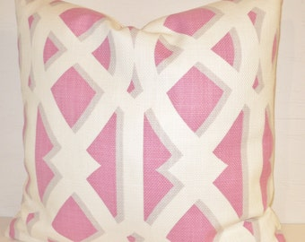 DESIGNER ABSTRACT Design LINEN Pillow Cover In Shades of Pink, Gray, and Cream