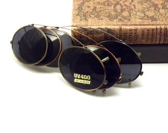 Oval Clip on Sunglasses, Bronze or Gold Metal with Gray UV Block Glasses Lenses, Vintage New Old Stock