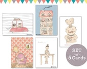 set of 5 cards - home sweet home